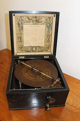 Symphonion  Manivelle Leierkasten Spieluhr Drehorgel 6 Blechplatten  #4913