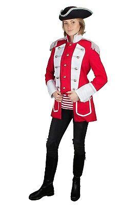 en Piraten Jacke Rot Weiss Pirat Hochwertige Fasching 36-54 (Hochwertige Piraten-kostüm)