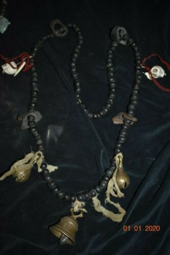 "orig $499 NEPAL/TIBET SHAMAN NECKLACE, BONE, BELLS, TEETH 1900S HUGE 30"" PROV"