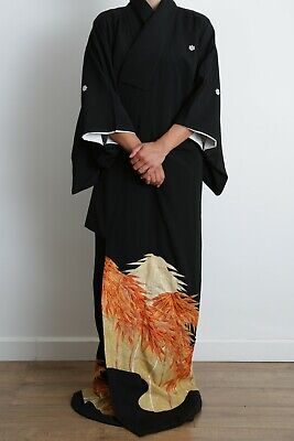 Authentic traditional vintage Japanese Kinsha silk black Tomesode kimono