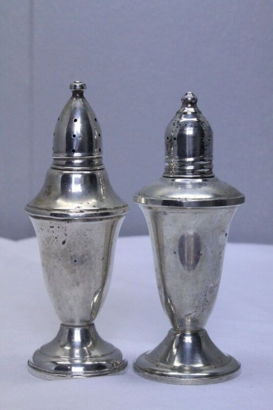 Vintage Sterling Weighted Salt and pepper shakers