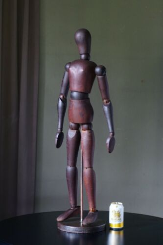 "LARGE Vintage Wood Articulated Artist Manikin Mannequin 32"" Sketch Drawing Model"