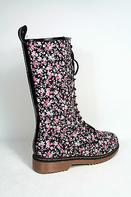 Women's Fashion Floral Round Toe Low Heel Lace Up Mid Calf Combat Boot Size 5-10