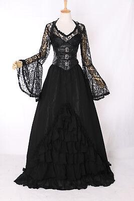 M-3404 Gothic Victorian Kleid Vampir schwarz Cosplay Kostüm costume Spitze Larp