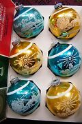 Vintage Stenciled Glass Christmas Ornaments