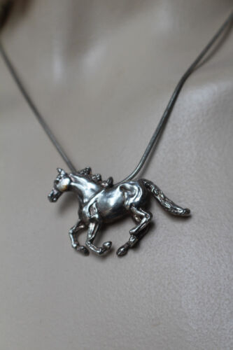 "DOBBS 925 RUNNING HORSE PENDANT ON 925, 16"" NECKLACE"