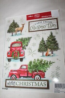 Christmas Window Clings RED TRUCK WITH TREES AND DEER SNOWFLAKES