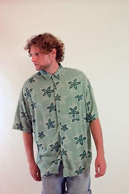 Vintage Hombre Flores Hawaianas Estampado Camisa Verde ( XL segunda mano  Embacar hacia Spain
