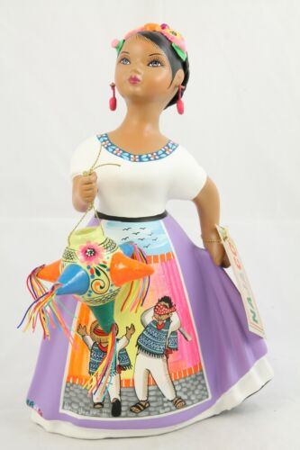 Lupita Najaco Ceramic Figurine/Doll Pinata Mexican Folk Art Espanola Lilac #2