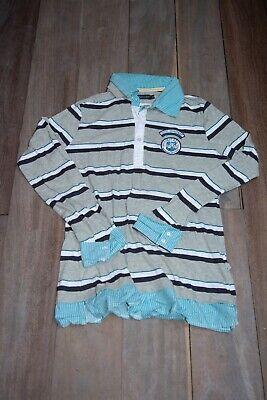 T-shirt polo faux chemisier 2 en 1 manches longues ligné XL