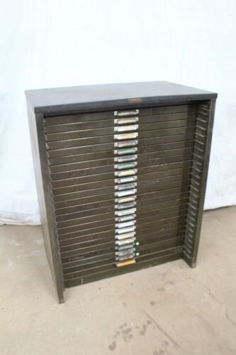 Antique Hamilton MFG Co.Typesetters / Printers 24 Drawer Cabinet