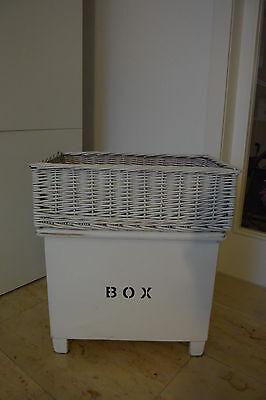 GROßER Aufbewahrungskorb Korb, weiß, Weide Rattan, 54 x 34 cm * WIE NEU *