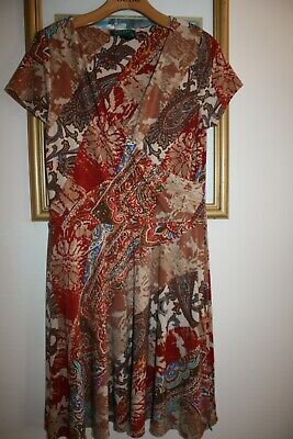 BROWN PAISLEY FAUX WRAP A LINE DRESS BY RALPH LAUREN ~ L