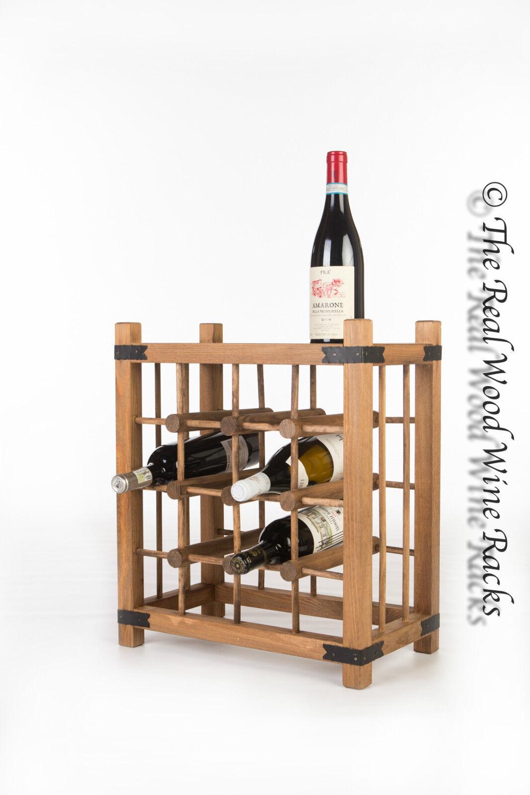 New Real Wooden Rustic Wine Rack Cabinet 16 Bottles
