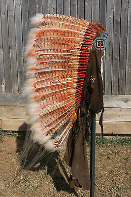 AUTHENTIC NATIVE AMERICAN INDIAN HANDMADE HEADDRESS SIOUX CHIEF WAR BONNET