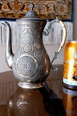 BEAUTIFUL ANTIQUE PERSIAN SOLID SILVER TEA POT