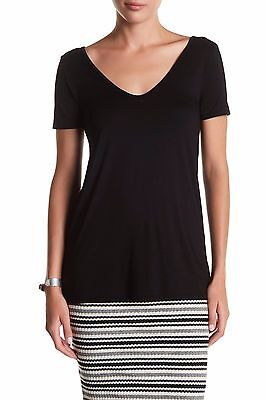 THREE DOTS Essential Short Sleeve Double V Neck Solid Tee Shirt Top Made USA $78 Sleeve Double V-neck Tee