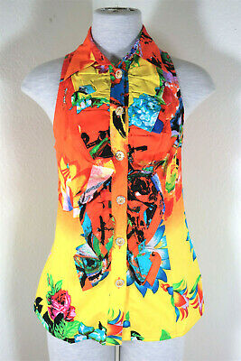 Vintage VERSUS Gianni VERSACE Bright Colorful Sleeveless Cotton Top Blouse S 4 6