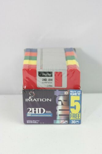 "Imation 3.5"" 3 1/2 inch Rainbow Diskettes Floppy Disk (30) Count Box New Sealed"