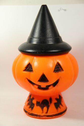Vintage Halloween Plastic Blow Mold Pumpkin Jack O Lantern Witch Hat