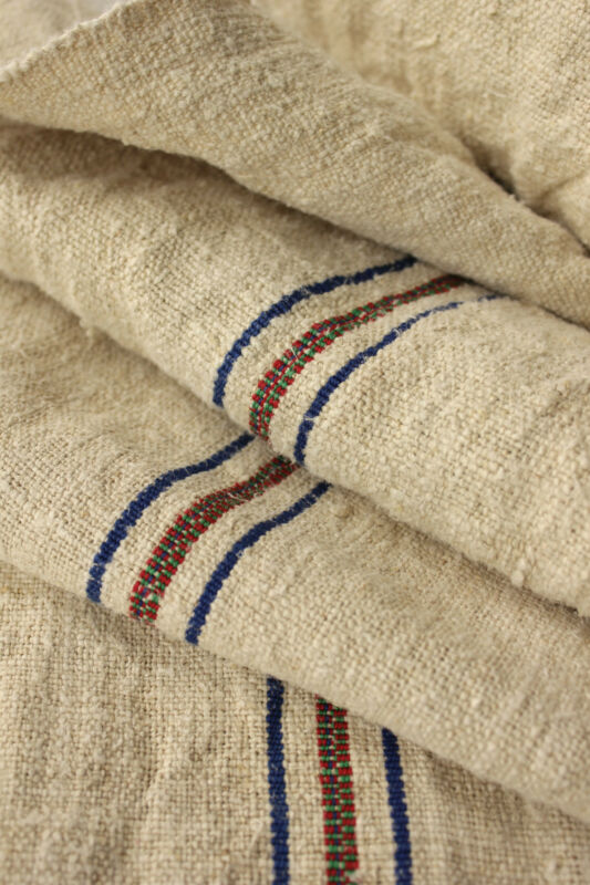Antique grain sack fabric RUSTIC European nautical look linen NUBBY 8.7 yards