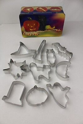 Halloween Cat Cookies (10-Piece Halloween Gift Tin Metal Cookie Cutter Set Cat Owl Ghost Witch)