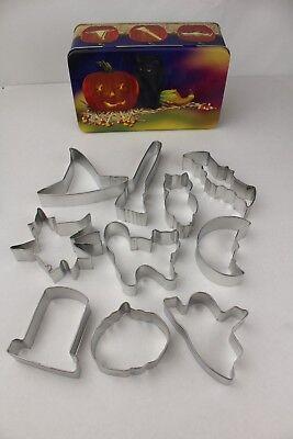 10-Piece Halloween Gift Tin Metal Cookie Cutter Set Cat Owl Ghost Witch Pumpkin