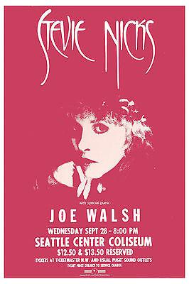 Rock:  Stevie Nicks  & Joe Walsh at Seattle Center Coliseum Concert Poster 1983