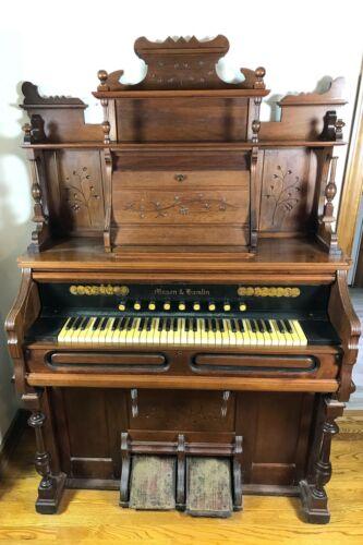Antique Walnut Pump Organ Mason and Hamlin