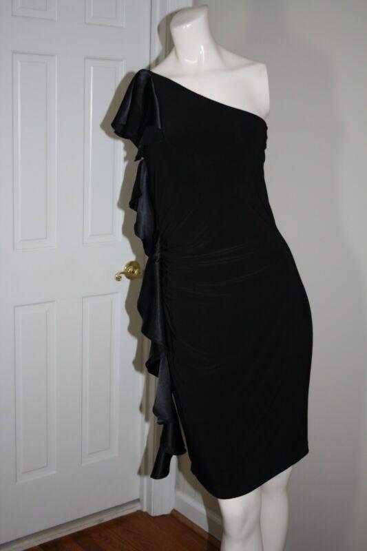 White House Black Market One Sleeve Sheath dress w/ Black Satin Ruffle - Size 4