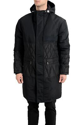 Versace Collection Men's Black Down Full Zip Hooded Coat
