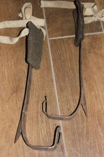 "Vtg 16"" Klein & Sons Tree Pole Climbing Spikes Gaffs Spurs. Lineman Lumberjack"