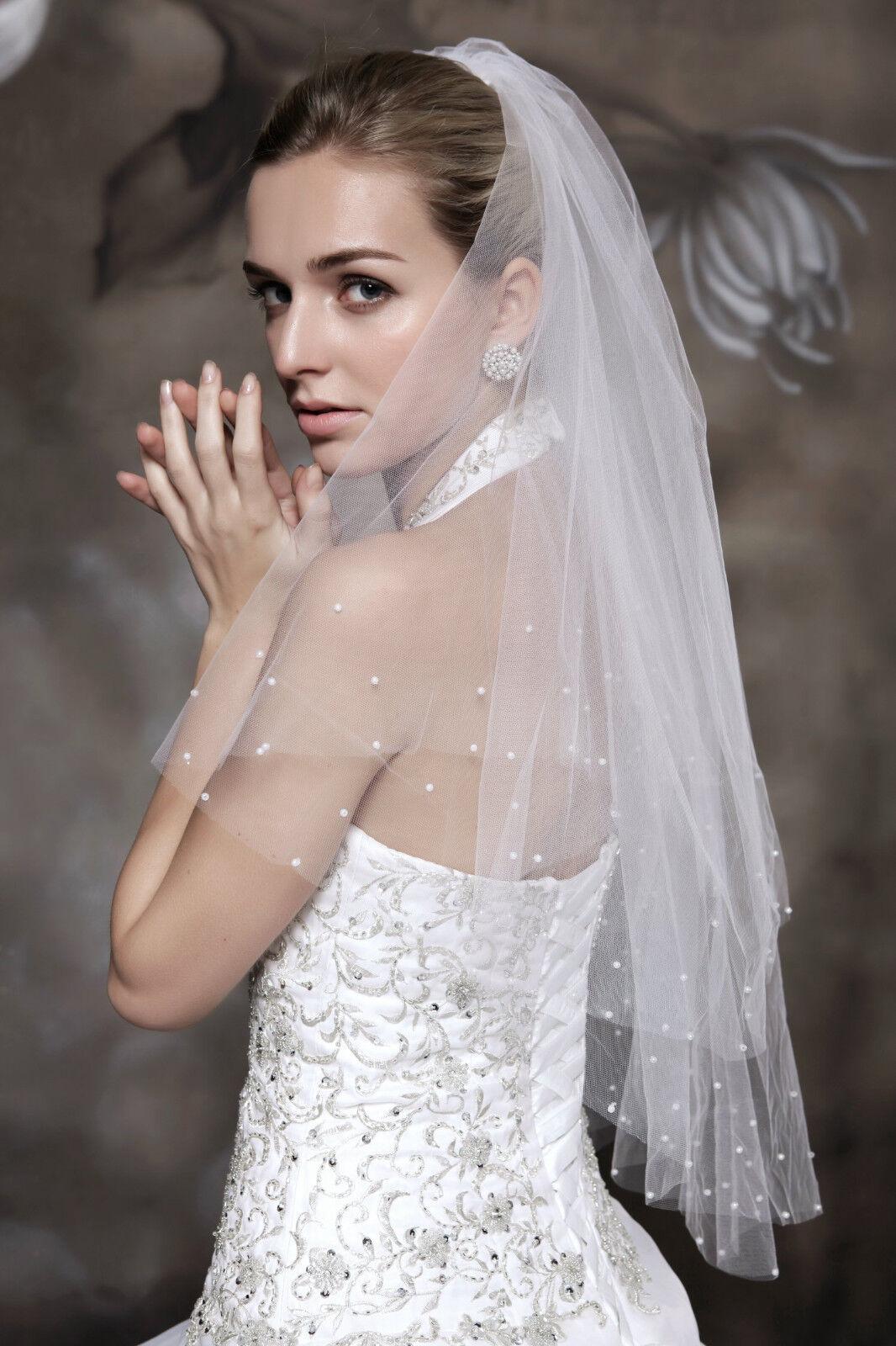 HBH doppellagige Brautschleier aus Tüll,mit Perlen/Kamm verziert,Länge:60cm/80cm