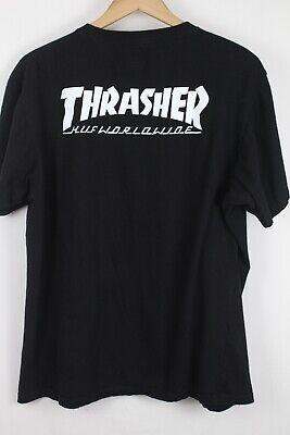 HUF Mens Black Thrasher Short Sleeve T-Shirt Sz 2XL