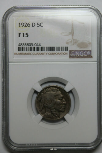 1926 D NGC F15 Buffalo nickel