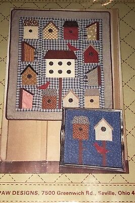 "Birdhouse Alley Applique Quilt Pattern by Bears Paw Designs 32"" X 38"" Birds"