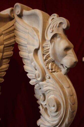 Wooden stairs Oak Decor, unique carved gryphon statue, decorative element.
