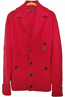 DSQUARED2 MENS CARDIGAN RED CASHMERE WOOL Sz XL