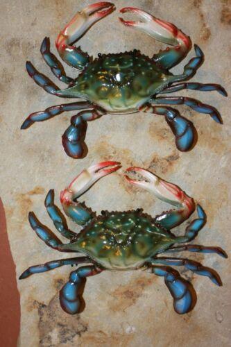 (2) Tiki Bar Net Decor Realistic 3-D Blue Crab Replicas, 3-D, 9 inch