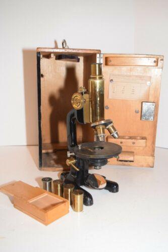 Rare Antique Ludwig Merker Wien Brass Microscope Set w/6 Lenses & 2 Eyepieces