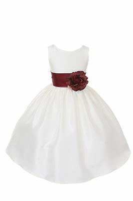 Poly Silk Flower Girl Pageant Dress w/Sash and Flowers-Ivory/Burgundy Burgundy Flower Girl Pageant Dress
