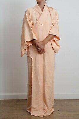 Authentic traditional vintage iro-muji tomesode Japanese rinzu silk kimono