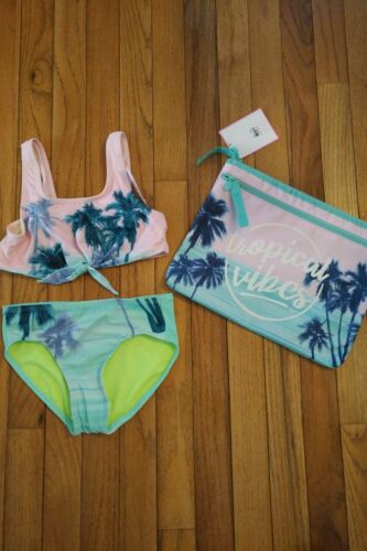 NWT Justice Girls Swimsuit Set Size 8 Bikini and Matching Bikini Bag