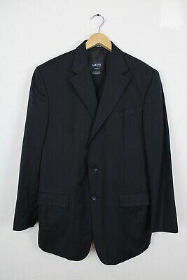 Alfani for Macys Mens 3 Piece Suit Black Striped 100% Wool Pants Vest Sz 40R