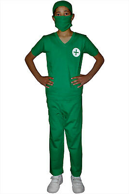 CHILDRENS MEDICAL DOCTOR NURSE GREEN FANCY DRESS COSTUME PARAMEDIC SURGEON SET](Paramedic Costume)