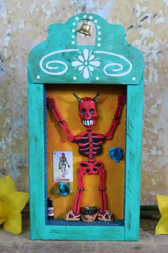 Day of the Dead Red Devil Skeleton Retablo Handmade by Becca Mexican Folk Art