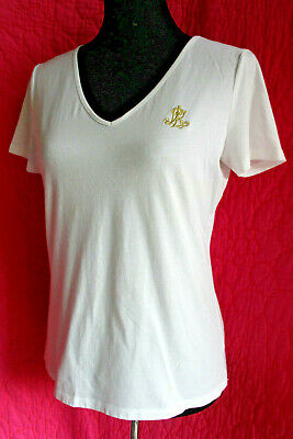 RALPH LAUREN White Cotton T=Shirt V-Neck Cap Sleeve Gold Logo Fine Knit Top Sz M