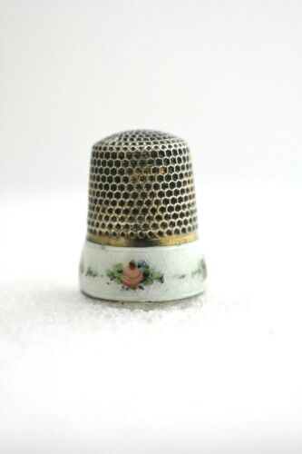 Antique Enameled Band Sterling Silver Thimble by Ketcham & McDougall c1900s SZ8