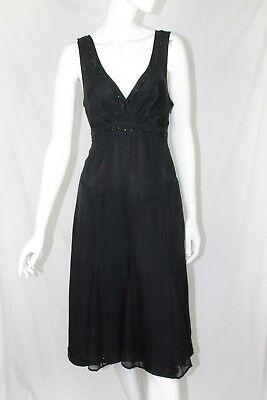 Men's 1920s Style Ties, Neck Ties & Bowties Ted Baker Black Silk Tie Back Sequin Embellished Evening Dress size 2 UK 10 $11.70 AT vintagedancer.com