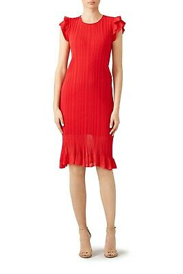 Genny Red Ruffle Sweater Dress 6 Flutter Sleeve Ribbed Stretch Textured Sheath